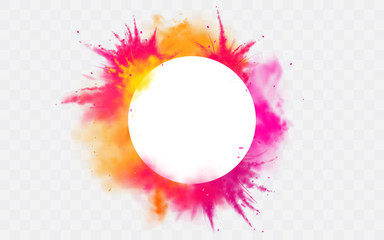 Color splash Holi powder paints round border isolated on transparent background colorful cloud or explosion, decorative vibrant dye for traditional indian festival Realistic 3d vector illustration