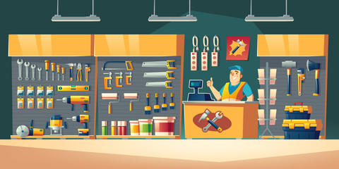 Tools store, hardware construction shop interior with salesman stand on counter desk showing thumb up and showcases with diy instruments on shelves for carpentry works Cartoon vector illustration