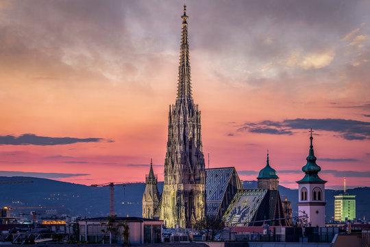 Vienna Skyline at night with St. Stephen's Cathedral, Vienna, Austria