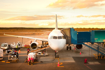 Punta Arenas, Region de Magallanes, Chile - November 21, 2010: Airplane being prepared before take off.