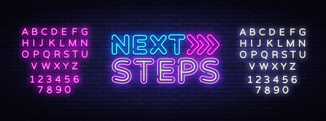 Next Steps neon sign vector. Next Steps Design template neon sign, light banner, nightly bright advertising, light inscription. Vector illustration. Editing text neon sign