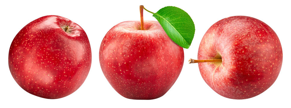 Red apple collection isolated on white. Apple set Clipping Path.