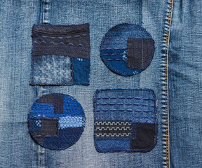set of 4 patches for repairing denim clothes