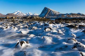 Winterlandschaft in Myrland auf den Lofoten
