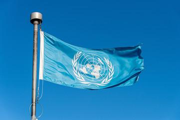 United Nations flag over blue sky