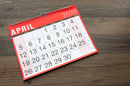 Calendar page showing the month of April 2020