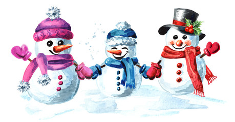 Happy snowmen family in cap, scarf and mittens. Watercolor hand drawn illustration isolated on white background