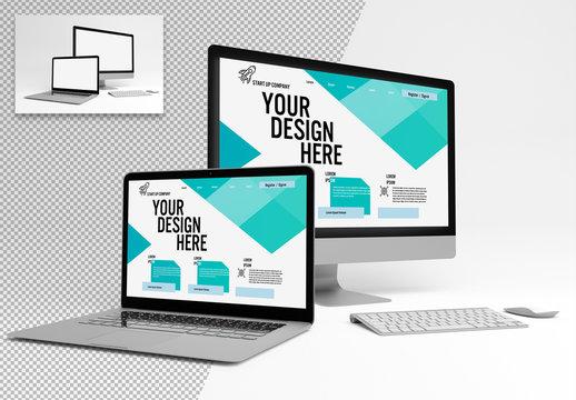 Laptop and Desktop Computer Mockup