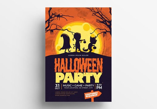 Halloween Flyer Layout with Cartoon-Style Illustrations