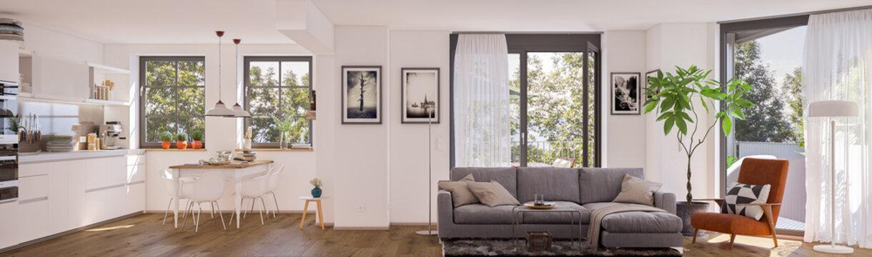 panorama view inside modern european apartment