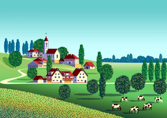 Poster Turquoise Rural summer landscape with farms, fields and trees in the background.