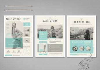 Beige Flyer Layout with Pale Blue Accents