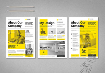 Black and White Flyer Layout with Yellow Elements