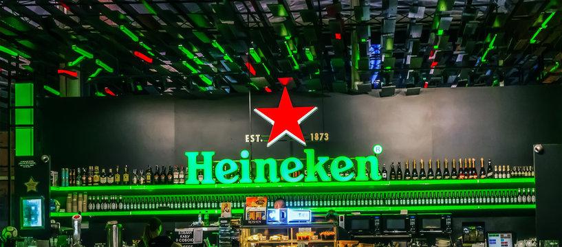 Heineken Beer interior bar indoor Boryspil International Airport. Kyiv, Ukraine -Kyiv, Ukraine 16.06.2019.