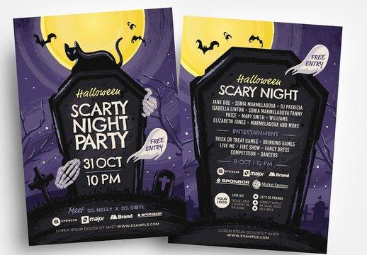 Halloween Flyer Layout with Graveyard Illustration