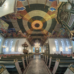 Panoramic view of interior of Oslo Cathedral, Norway