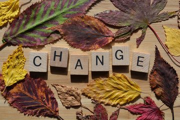 Change, autumn leaves on wooden background