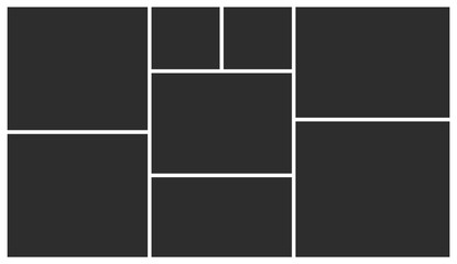 Templates collage eight frames photos. Poster frame mockup. Empty vector frames.