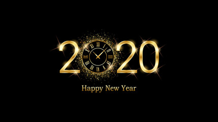 Golden happy new year 2020 and clock face with burst glitter on black color background