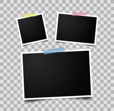 Set of empty photo frames with adhesive tape. Realistic photo frame mockup.