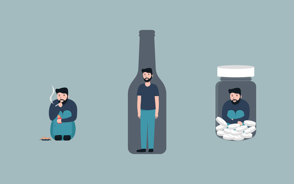 Bad habits set, alcoholism, pills drug addiction, smoking, Vector flat cartoon character illustration. Isolated on background.