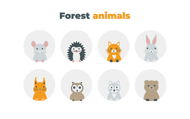 Forest animals set in flat style isolated on white background. Cute cartoon wild animals avatars collection: mouse, hedgehog, fox, hare, squirrel, owl, wolf, bear.