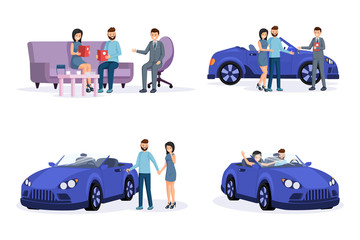 Automobile purchase process steps illustrations set. Smiling young couple, customers and retail agent cartoon characters. Consulting with salesman, conducting deal, buying and driving new car