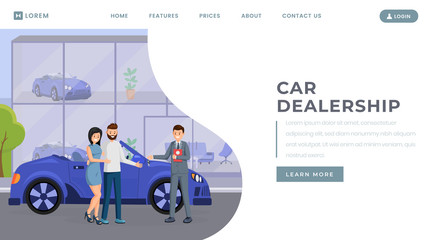 Car dealership landing page vector template. Transport retail business website homepage interface idea with flat illustration. Automobile showroom, vehicle rental service web banner cartoon concept