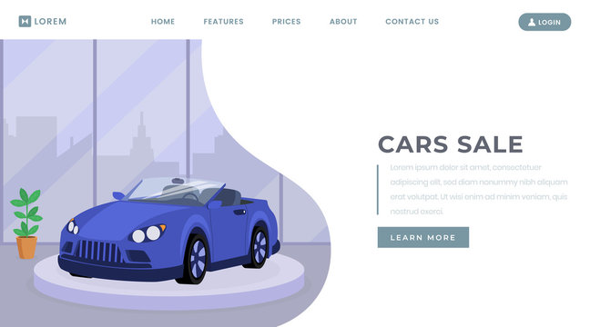 Car sale landing page vector template. Vehicle leasing service website homepage interface idea with flat illustration. Transport retail center, automobile showroom web banner cartoon concept