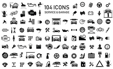 Car service & garage 104 isolated icons set on white background, repair, car detail