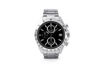 Luxury watch isolated on white background. With clipping path for artwork or design. Black.