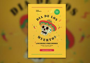 Yellow Dia De Los Muertos Flyer Layout with Illustrative Skull
