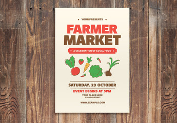 Farmer Market Flyer Layout with Illustrative Elements