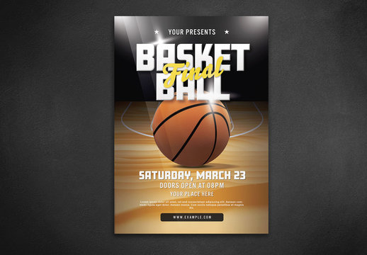 Basketball Game Flyer Layout with Illustrative Elements