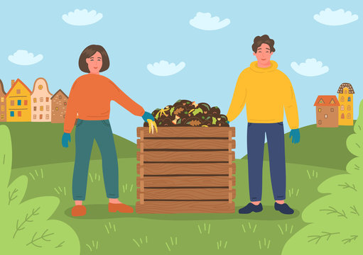Composting. Man and women making compost. Recycling concept.