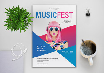 Music Fest Flyer Layout with Blue and Pink Elements