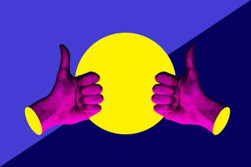 Contemporary minimalistic art collage in neon bold colors with hands showing thumbs up. Like sign surrealism creative wallpaper.