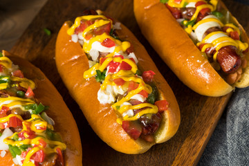 Foto op Plexiglas Hot chili peppers Homemade Sonoran Hot Dogs