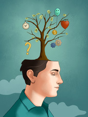 Different thoughts growing on a tree