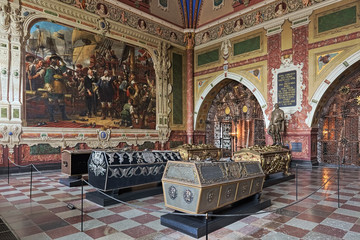 Interior of Christian IV's chapel in Roskilde Cathedral, Denmark, with the sarcophagi of king Christian IV of Denmark and members of his family including his son king Frederick III of Denmark.