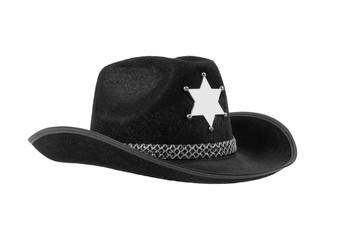 one black sheriff cowboy hat
