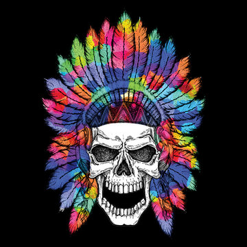 Human skull in native american indian chief headdress. Tribal, ethnic, colorful image, boho style. Wild and free