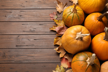 Flat lay composition with different ripe pumpkins on wooden background, space for text. Holiday...