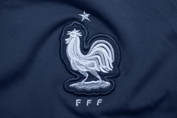 BANGKOK THAILAND - JUNE 8: the Logo of  France National Football Team on Football Jersey on June 8,2018