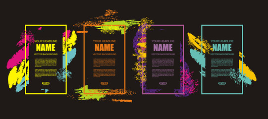 Color frames in splash design with place for your text.