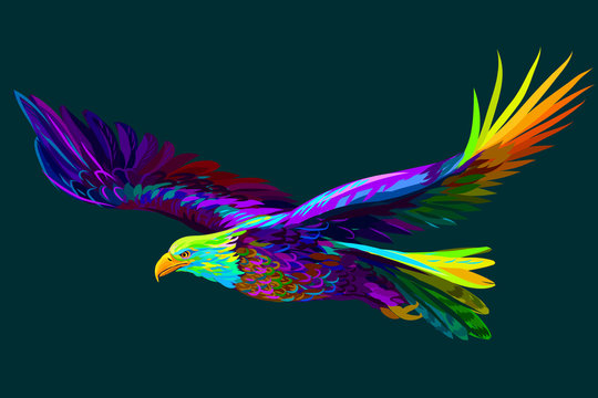 Soaring bald eagle.  Abstract, multi-colored portrait of a soaring bald eagle on a dark green background.