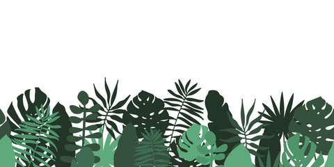 Seamless horizontal border pattern from tropical leaves