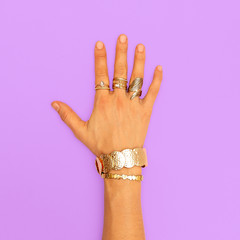 Stylish gold jewelry Accessories.  Fashion details concept