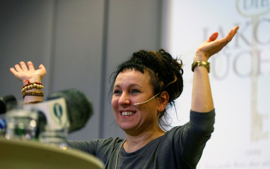 Olga Tokarczuk gives a lecture after being awarded the 2018 literature Nobel Prize, in Bielefeld