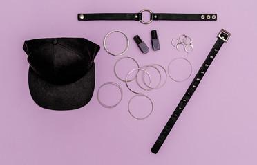 Stylish swag trendy black jewelry. Choker and bracelets.  Flat lay street fashion concept